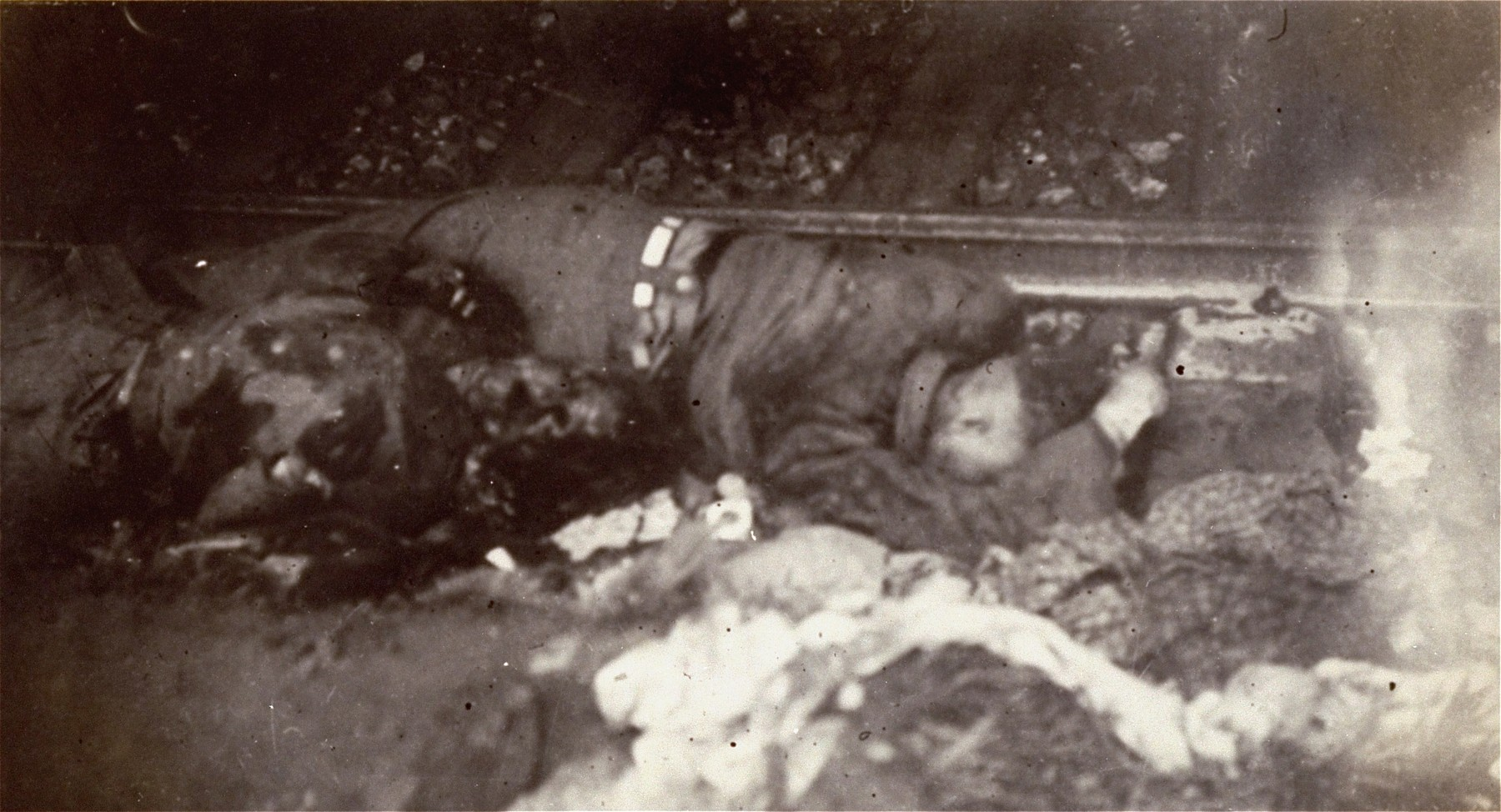 The bodies of SS guards in the newly liberated Dachau concentration camp.