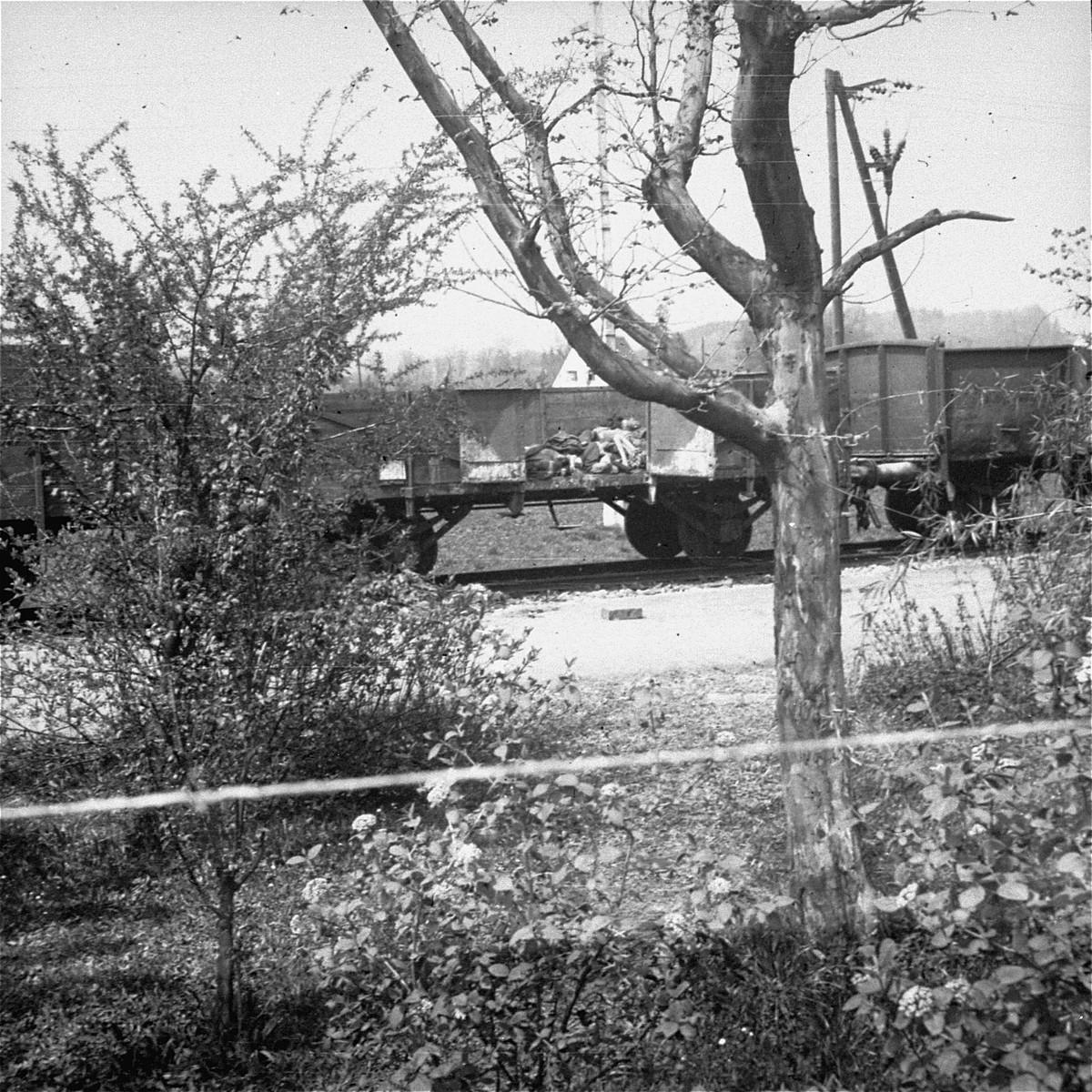 View of the open railcars of the Dachau death train.