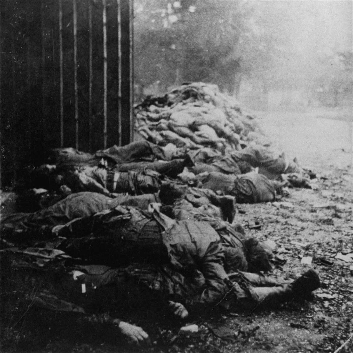 The bodies of summarily executed SS personnel lie in the foreground behind the crematorium, while behind them the corpses of prisoners are visible.