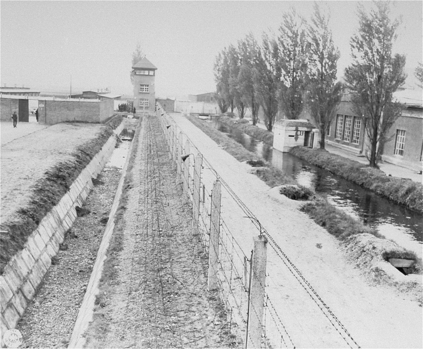 A watch tower and section of the electric fence in Dachau.