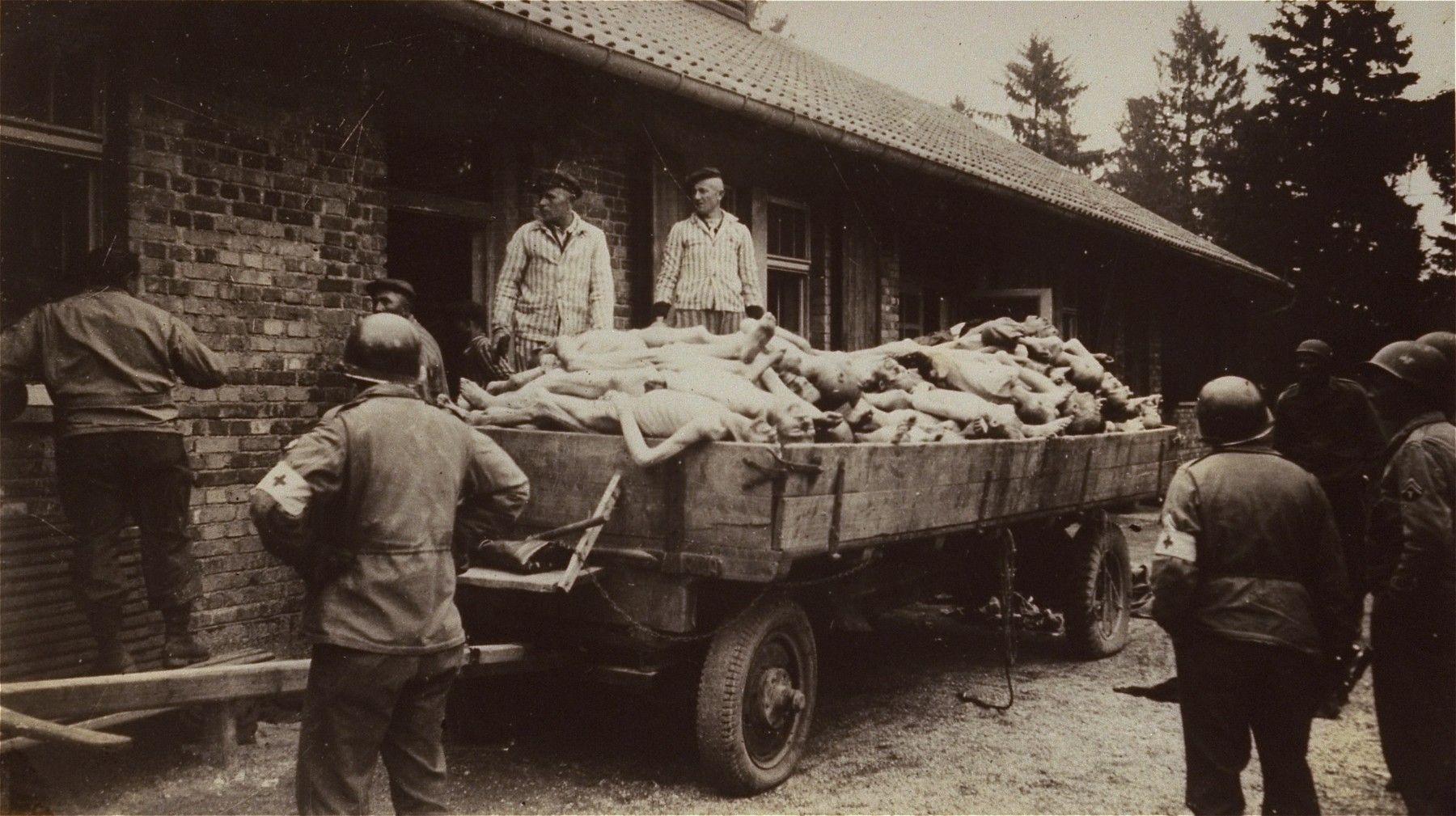 American soldiers look on as survivors in Dachau remove bodies from the cellar of the crematorium.