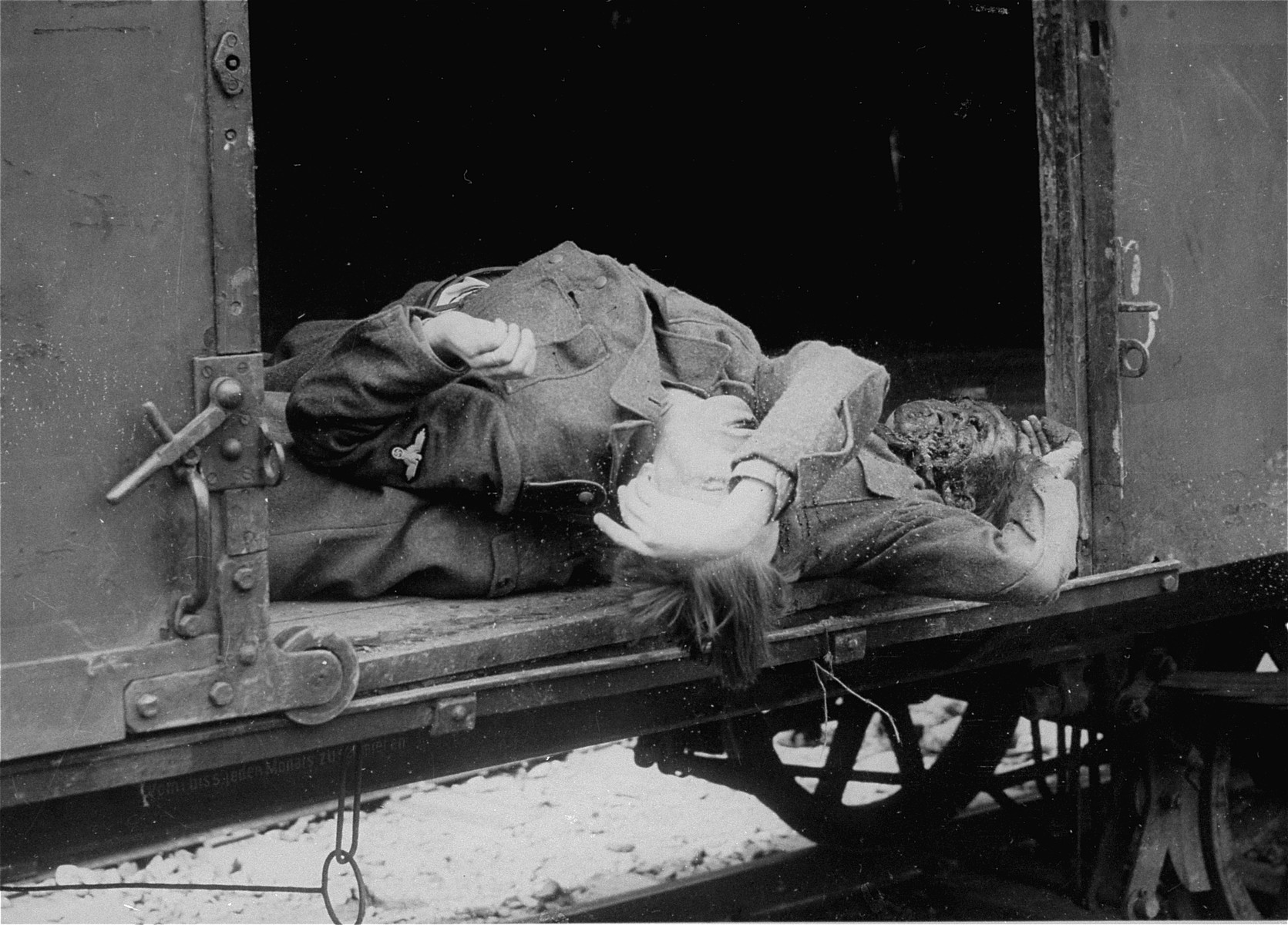 The bodies of two SS men who were killed by survivors.