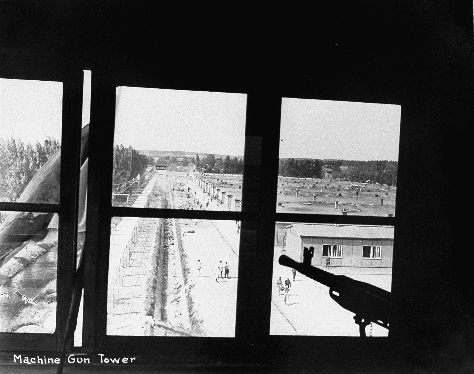 A view of the camp from a guard tower in the Dachau concentration camp.