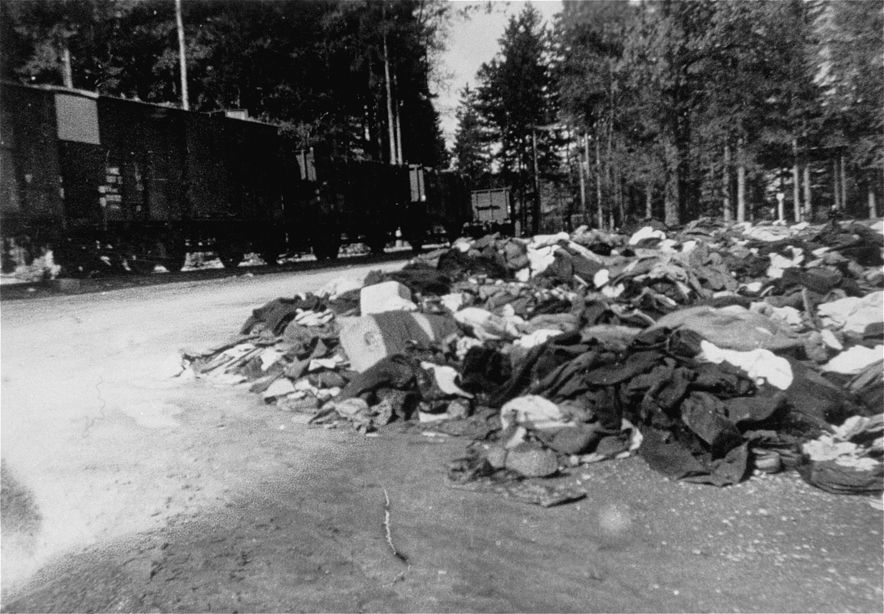 A pile of clothing stripped off of corpses found on the death train.