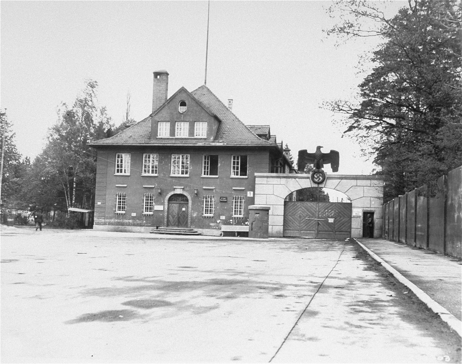 The building that housed police officials at Dachau, after liberation.