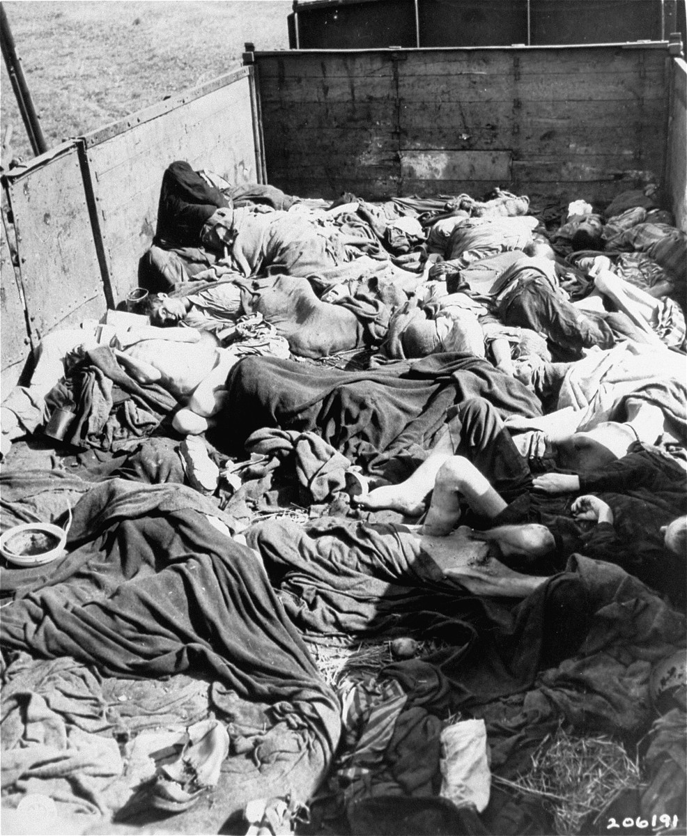 """Railway cars loaded with the corpses of prisoners who died on route to Dachau from other concentration camps.  Original caption reads, """"[?] atrocity camp: scattered about [?] car in the yards of the Dachau concentration camp, are bodies of the prisoners who died enroute from [?] concentration camps. 7th US. Army troops who liberated Dachau, found 50 box cars each loaded with bodies."""""""