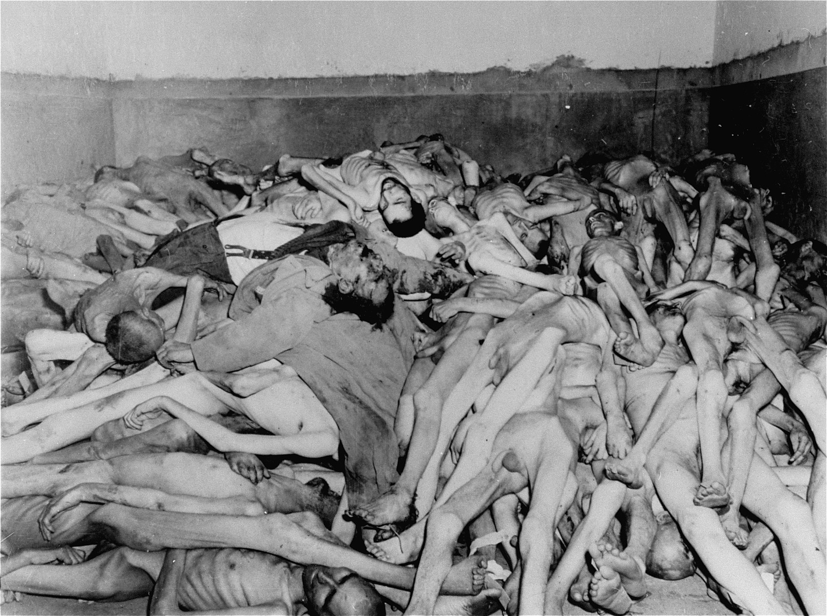 Corpses piled in the crematorium mortuary.  These rooms became so full of bodies that the SS staff and survivors began piling corpses behind the crematorium, where they were found by U.S. troops.