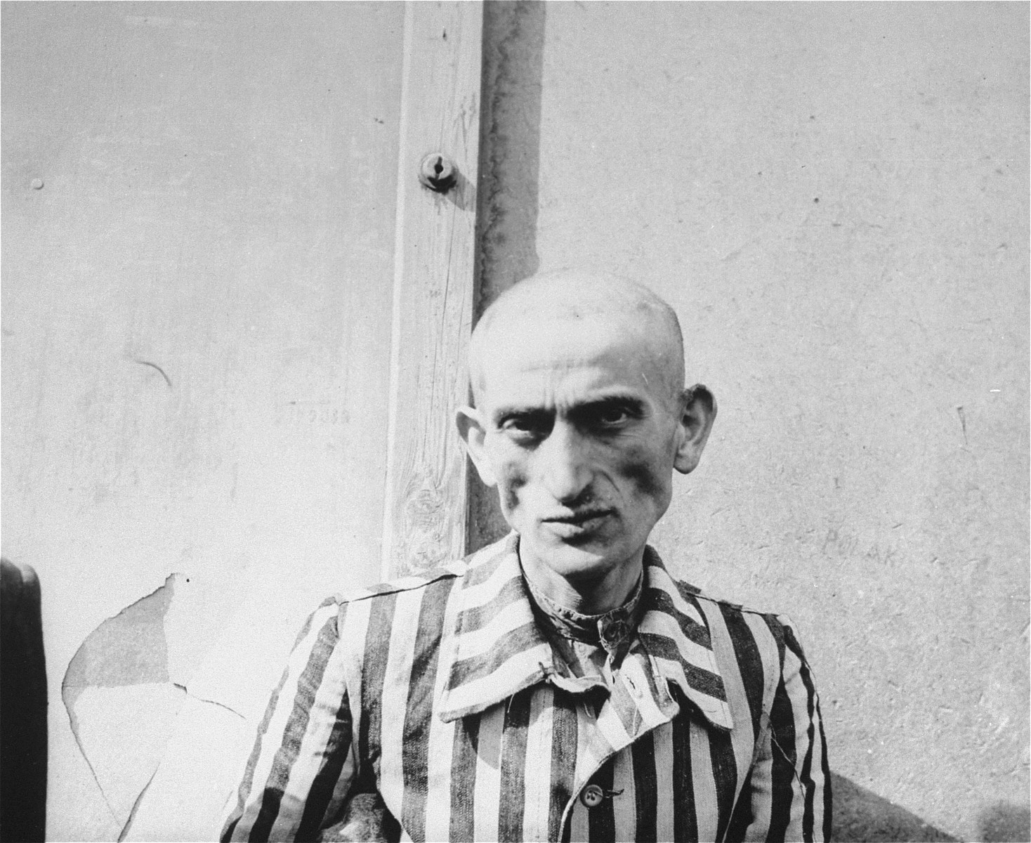 "A survivor in Dachau on the day of liberation.  Original text on back of image reads, ""One of the living dead. Dachau concentration camp is filled with men like these. Huge crematory burns the bodies of men like these who fall dead in the streets. Many are murdered inmates claim that 14,000 of these men have died."""
