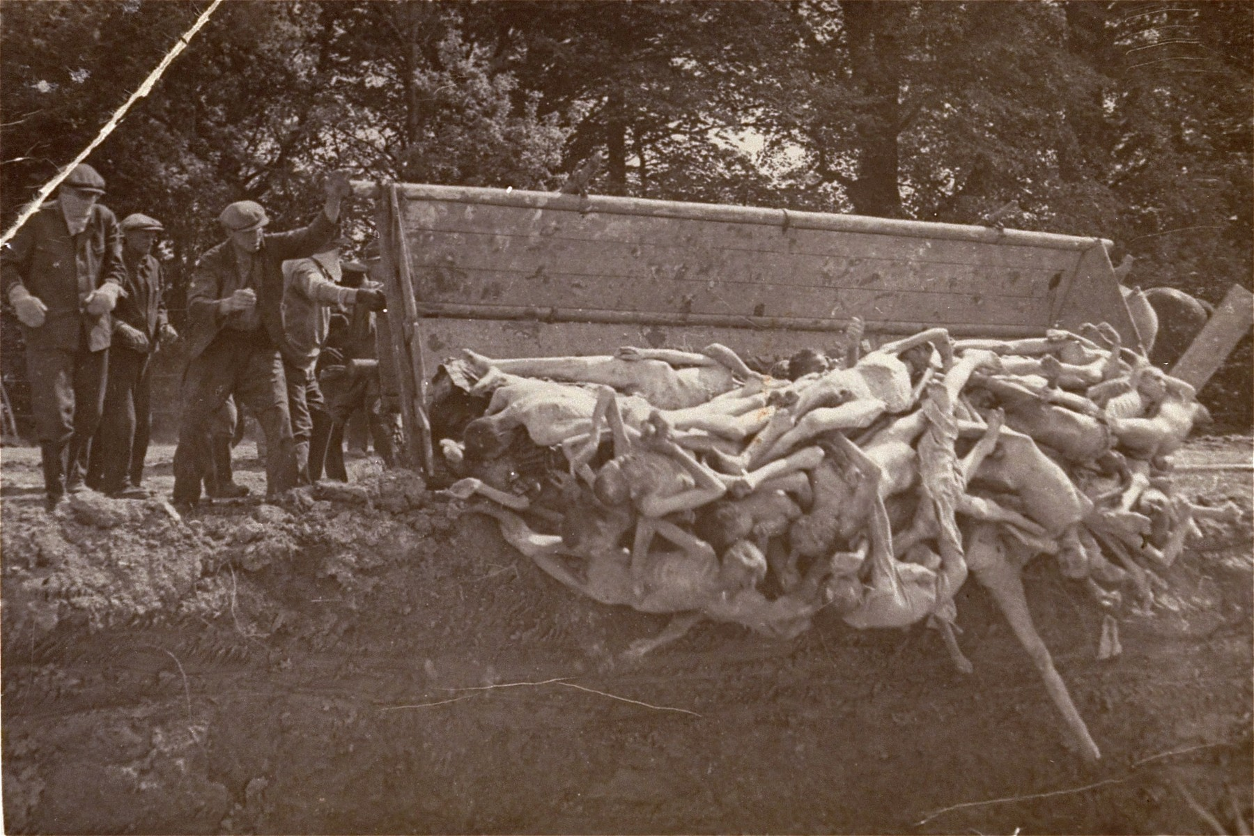 German civilians bury bodies in a mass grave.