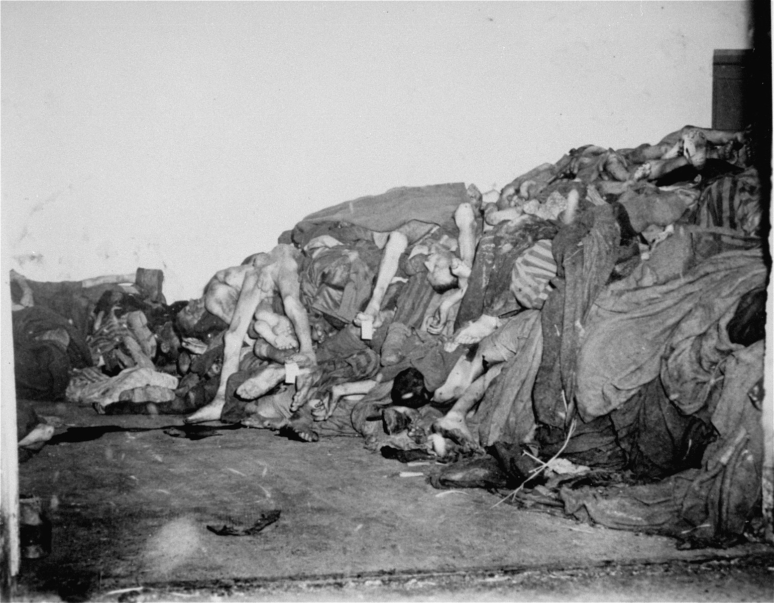 Corpses piled in the mortuary below the crematorium.  These rooms became so full of corpses that the SS staff and survivors began to pile corpses behind the crematorium, where they were found by U.S. troops during the liberation of the camp.