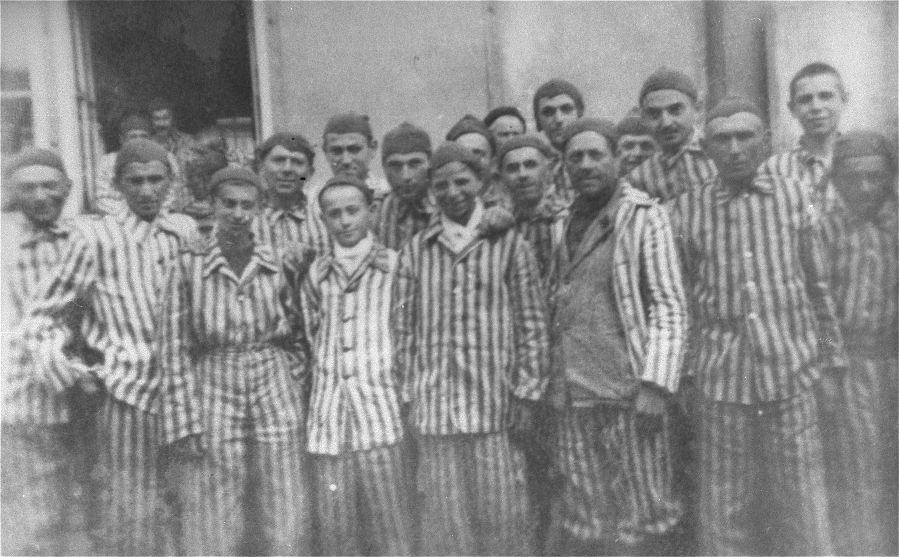 A group of survivors in Dachau.