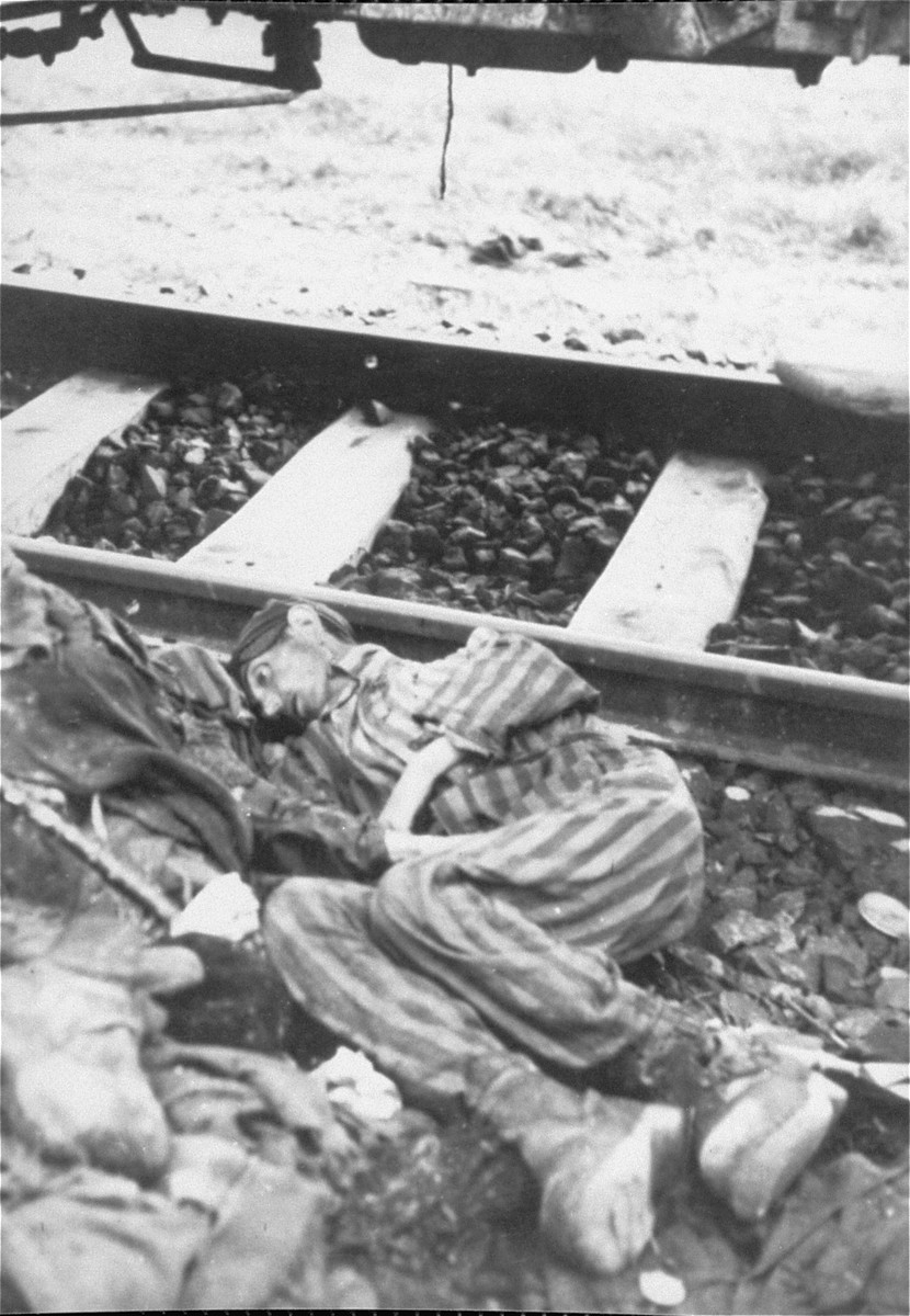 The corpse of a prisoner which fell out of one of the railcars of the Dachau death train when American troops opened the door.