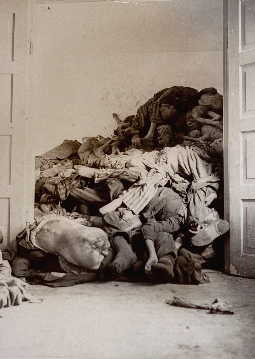 Corpses in the crematorium mortuary.  These rooms became so full of bodies that the SS staff and survivors began piling corpses behind the crematorium, where they were discovered by U.S. troops during the liberation of the camp.