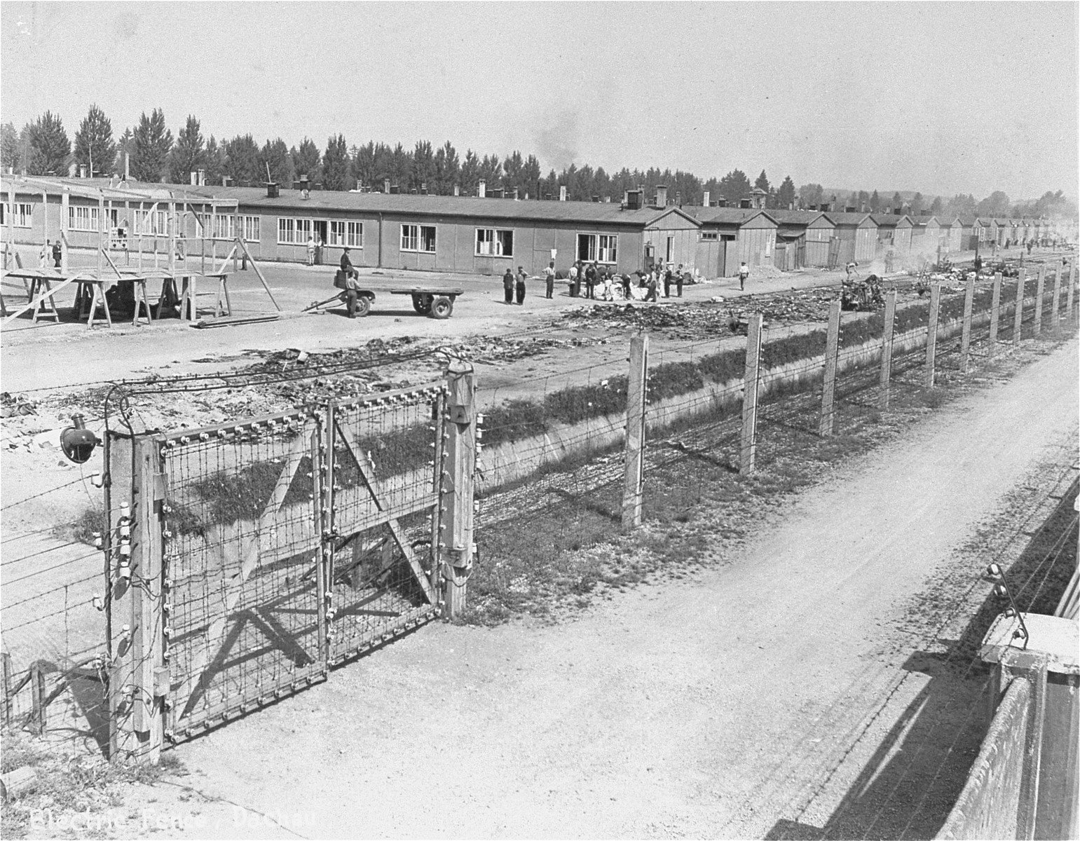 A section of the Dachau concentration camp.