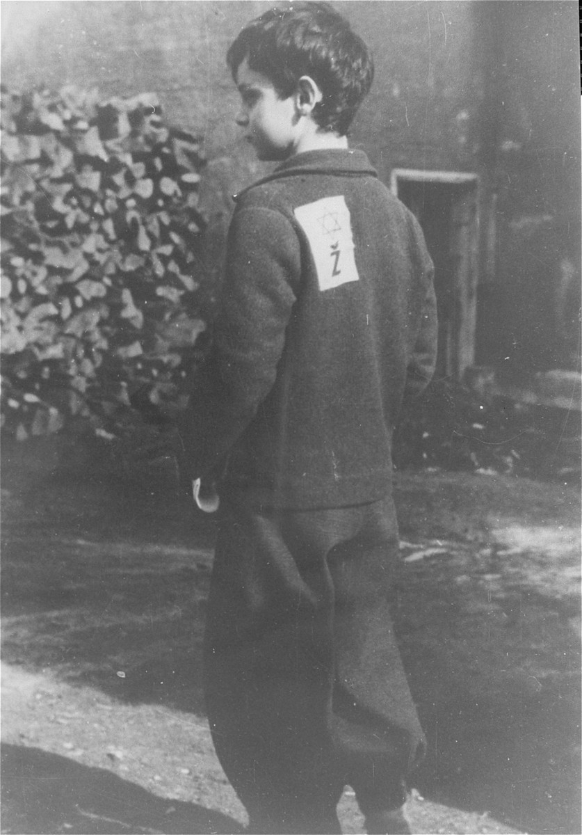 Portrait of a young boy in the Loborgrod concentration camp wearing a Jewish badge.