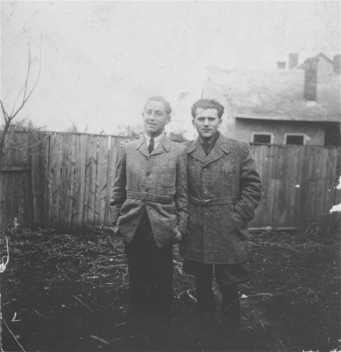 Ludvic Ickovic (right) poses with his friend Harry Rot, in the yard of the Ickovic home in Tacovo.  Soon after Harry Rot was deported to his death in Auschwitz.