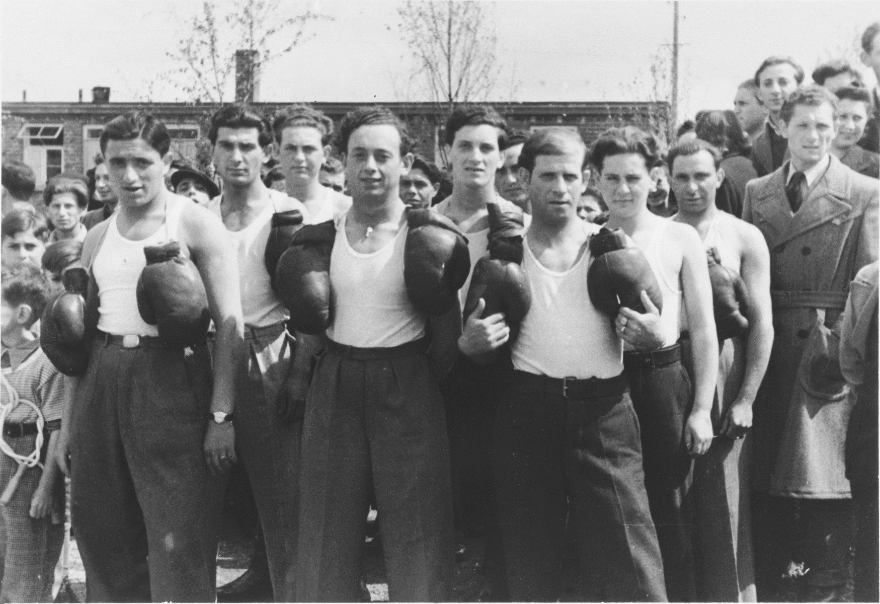 Group portrait of the members of the Zeilsheim displaced persons' camp boxing team.