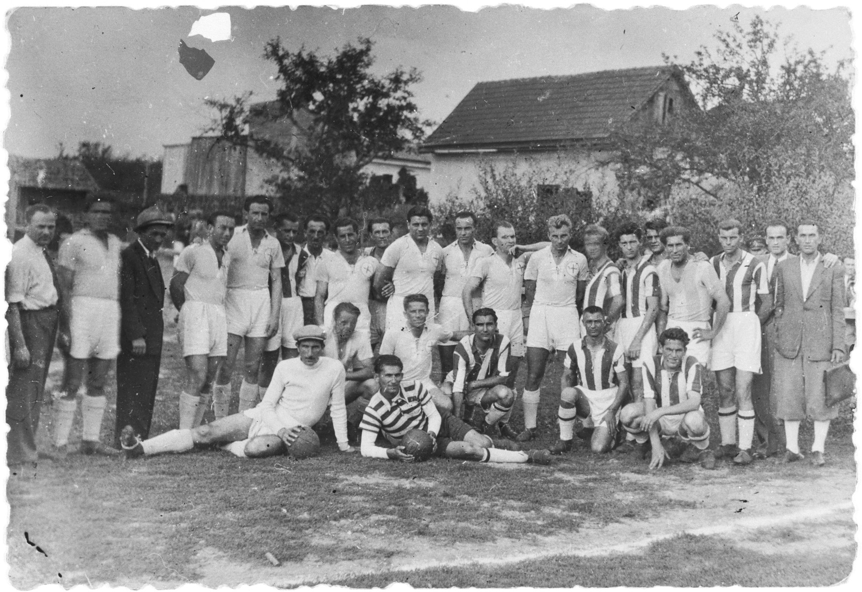 Members of the Samson soccer club in Sighet.  Those pictured include Yossy Kaufman (half back) and Herman Tessler (center forward).