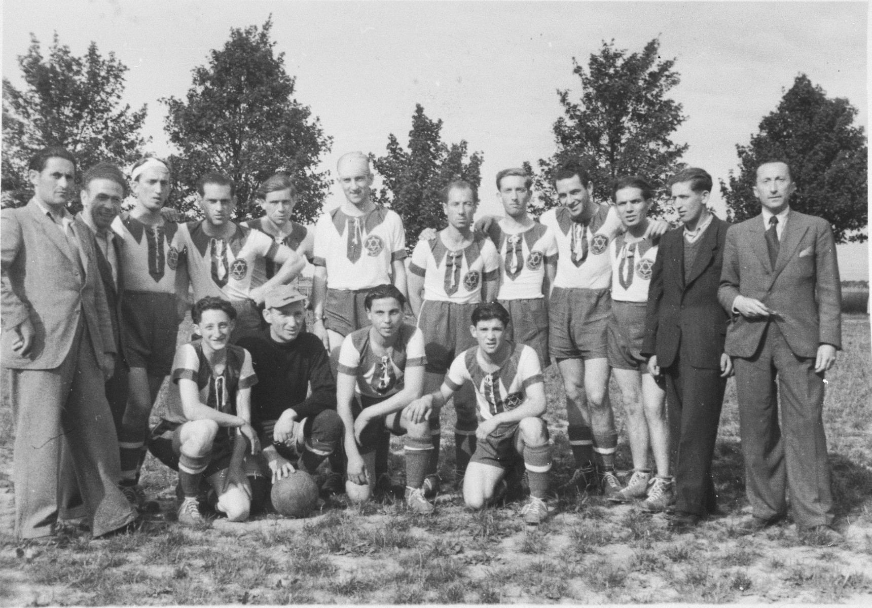 Group portrait of the members of the Zeilsheim displaced persons' soccer team.