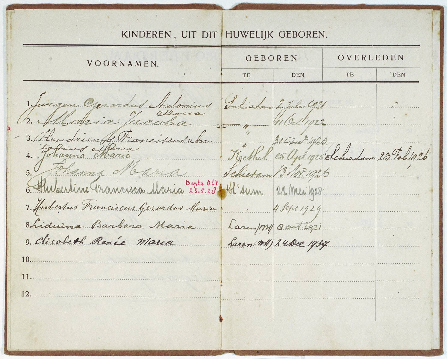Identification paper that lists the Jewish child, Elizabeth Reiss, as the ninth child of her Dutch rescuers, Antonius Johannes Salters and Wilhemina Salters-Kloppenburg.