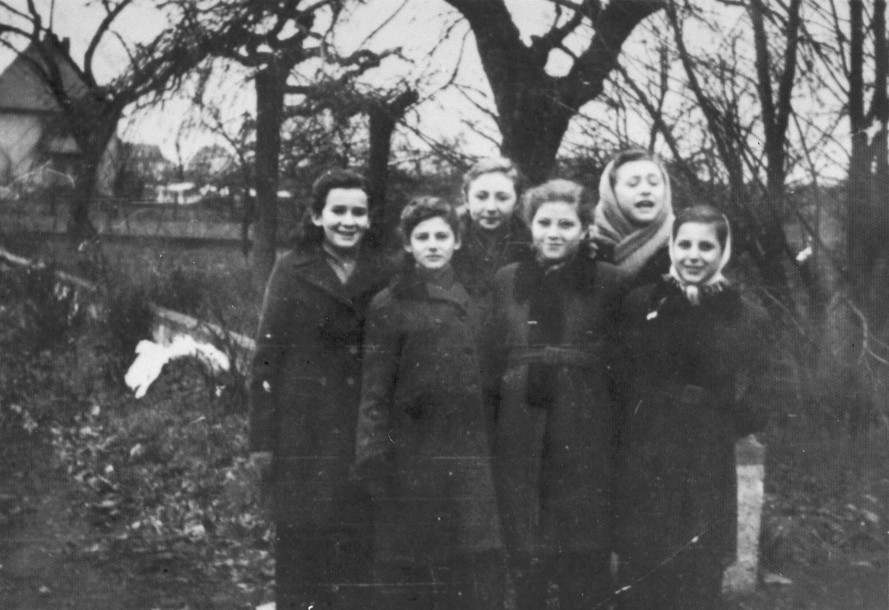 A group of girls stand in the Babenhausen displaced persons' camp.  Sylwia Laufer is on the left.