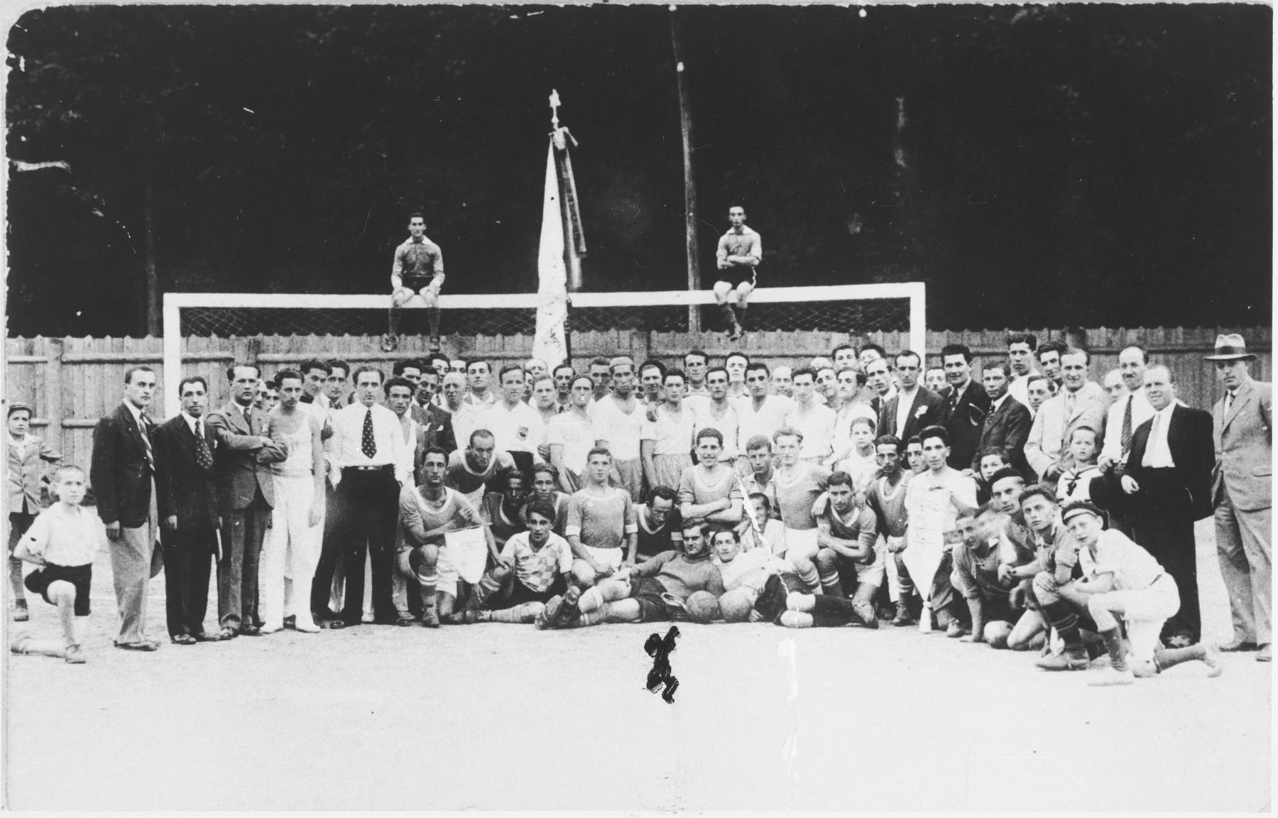 Members of the Samson soccer club in Sighet.  Those pictured include the captain, Gavaler, Yossy Kaufman, Herman Tessler and Khunoh Tessler.