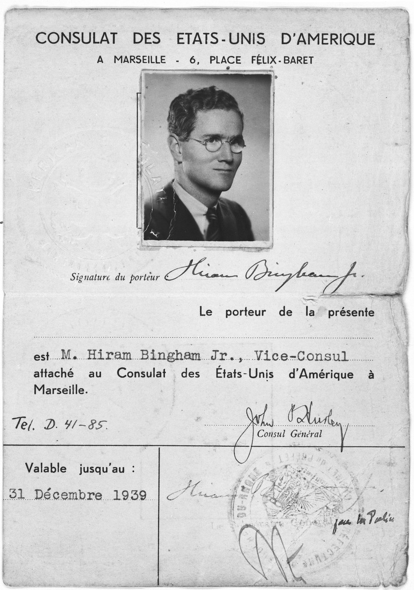 Identification papers for Hiram Bingham, American Vice Consul in Marseilles.