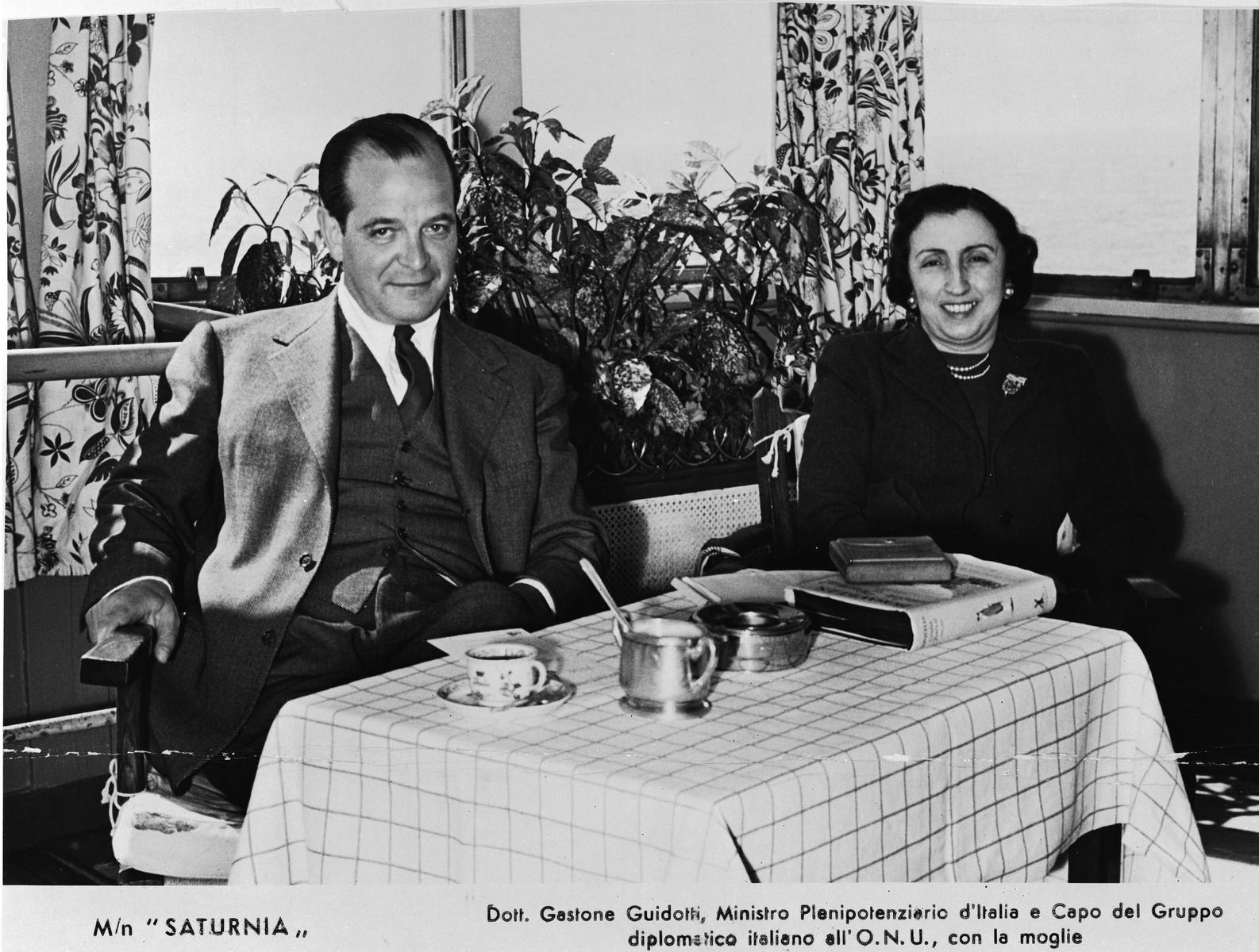 Italian diplomat Gastone Guidotti on board the SS Saturnia with is wife.