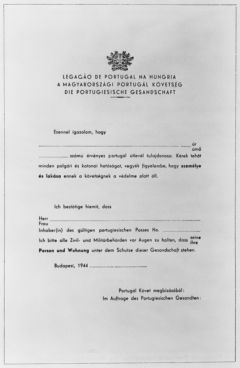 Blank Schutzbrief [protective letter] issued by the Portuguese legation to Hungary in 1944.