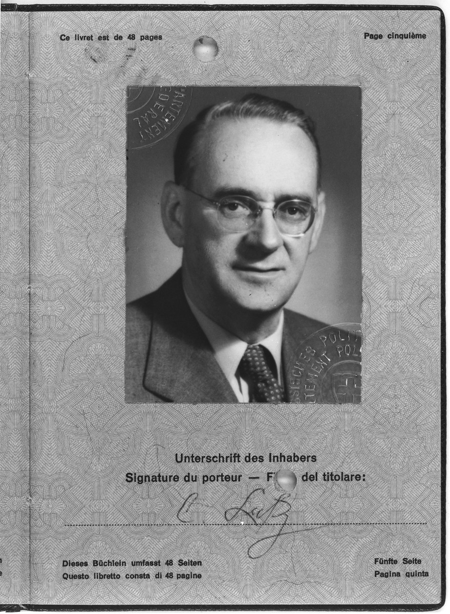 Passport photograph of Charles (Carl) Lutz.