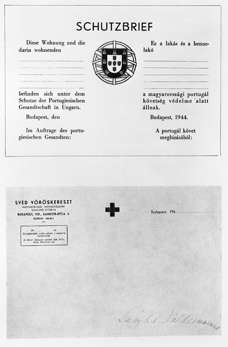 Blank Schutzbrief [protective letter] issued by the Portuguese legation in Hungary in 1944.