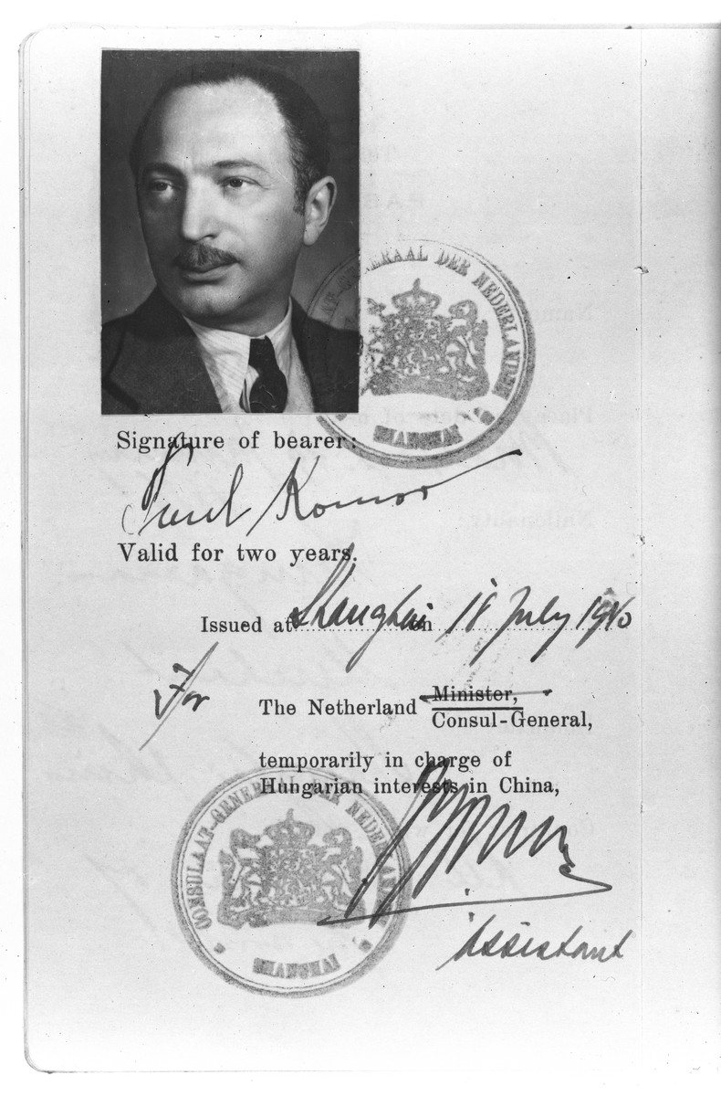 Identification card belonging to Paul Komor certifying that he is temporarily in charge of Hungarian interests in China.    The document was issued by the Netherlands Consul-General in Shanghai on July 18, 1940 and was valid for two years.