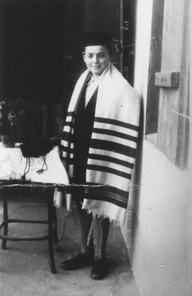 Bar mitzvah portrait of Chamek Bromberger, a cousin of Helcia Stapler.  He later perished in Auschwitz.