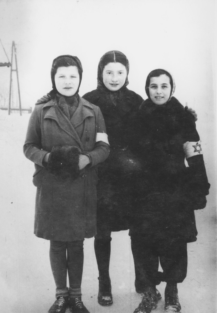 Three girls wearing armbands pose in the Chrzanow ghetto.  From left to right are Fella Tag, Sala Rauchwerger and Cesia Rabinowicz.