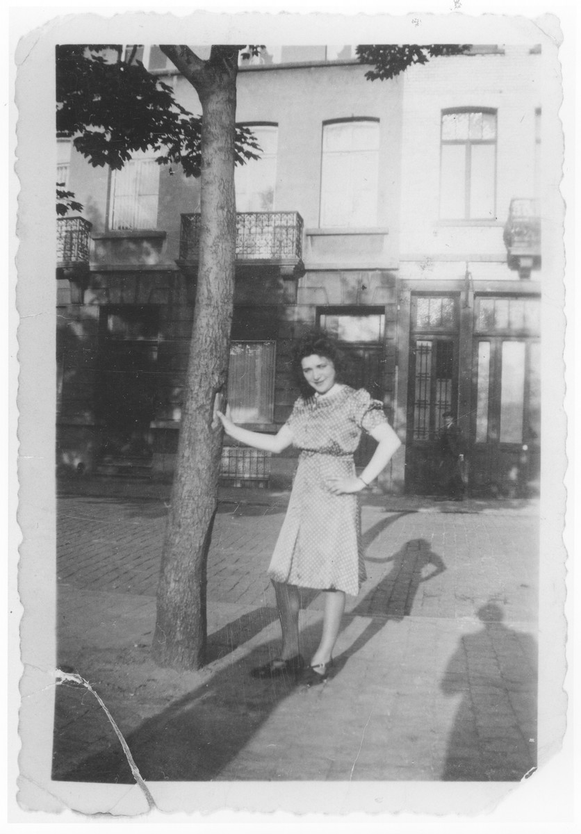 Ida Soldinger poses outside an apartment house in Brussels one month before she was deported to Auschwitz via the Mechelen transit camp.