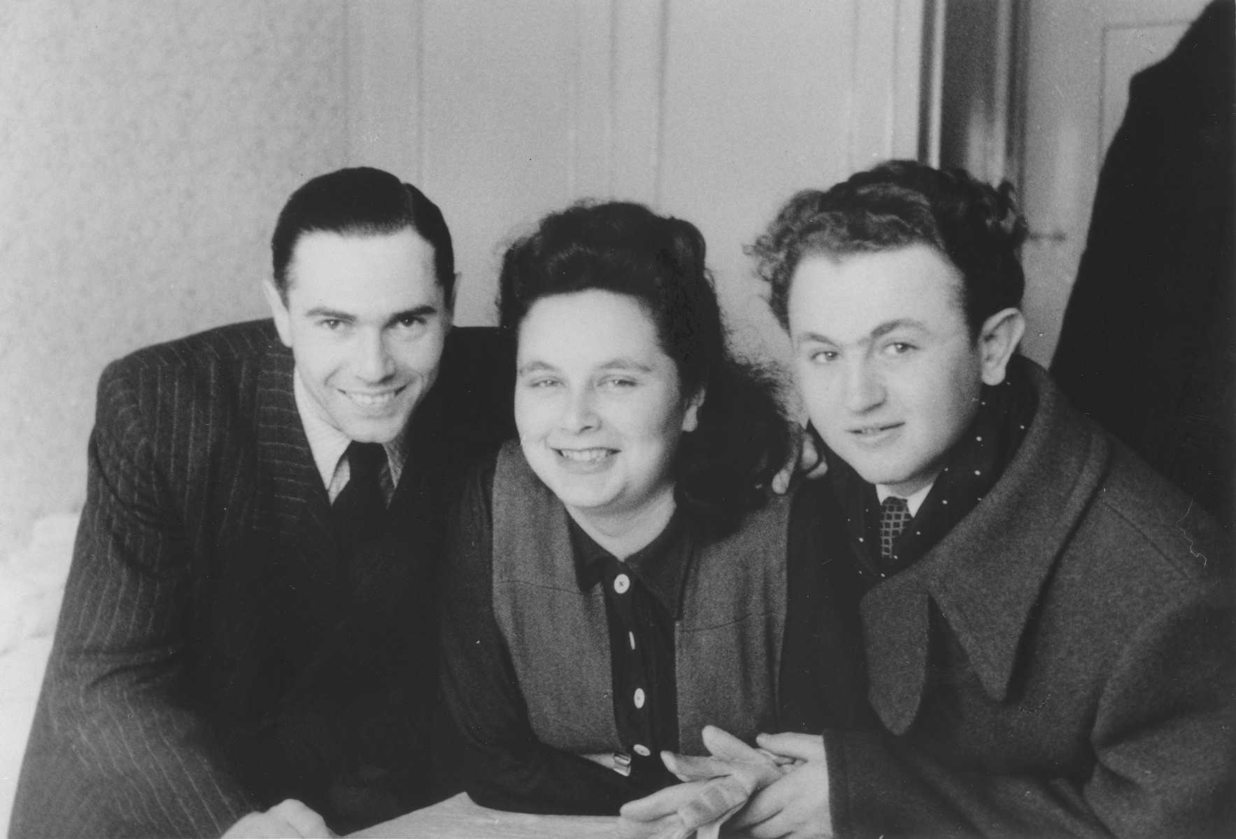 Three Jewish DPs in the Schlachtensee displaced persons camp.  Pictured from left to right are Leonhard and Margot Natkowitz and Yeshayahu Zycer.  The Natkowitz' were teachers in the DP camp.