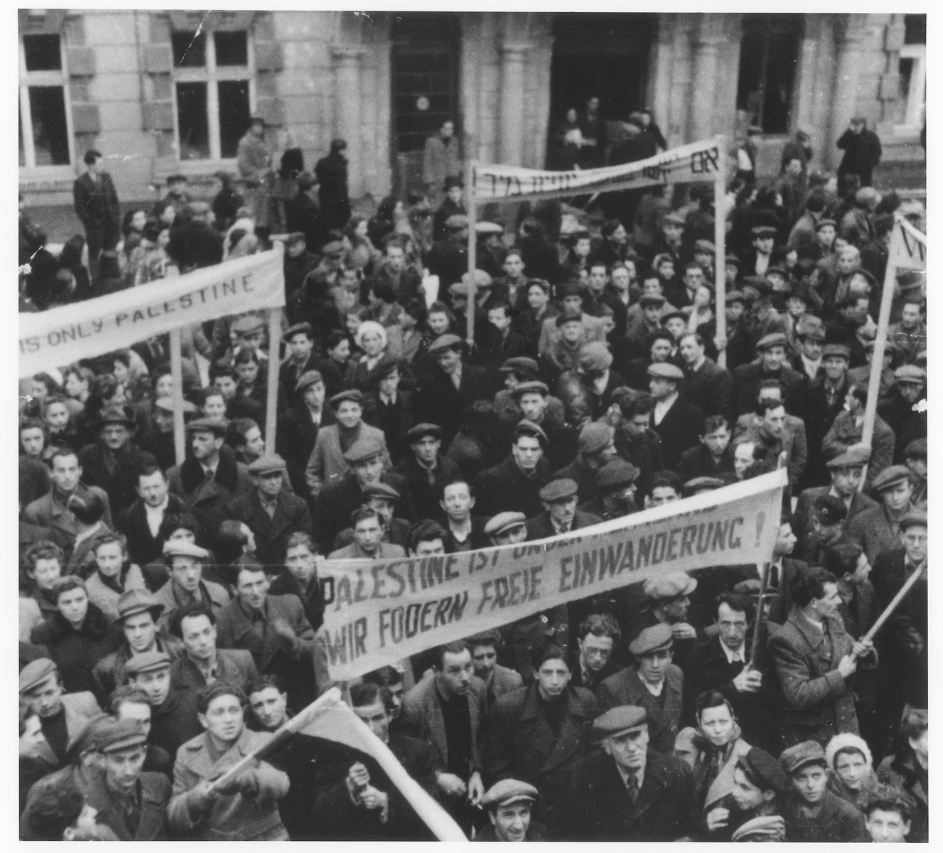 Jewish DPs protest against British immigration policy in Palestine at the Bad Gastein displaced persons camp.