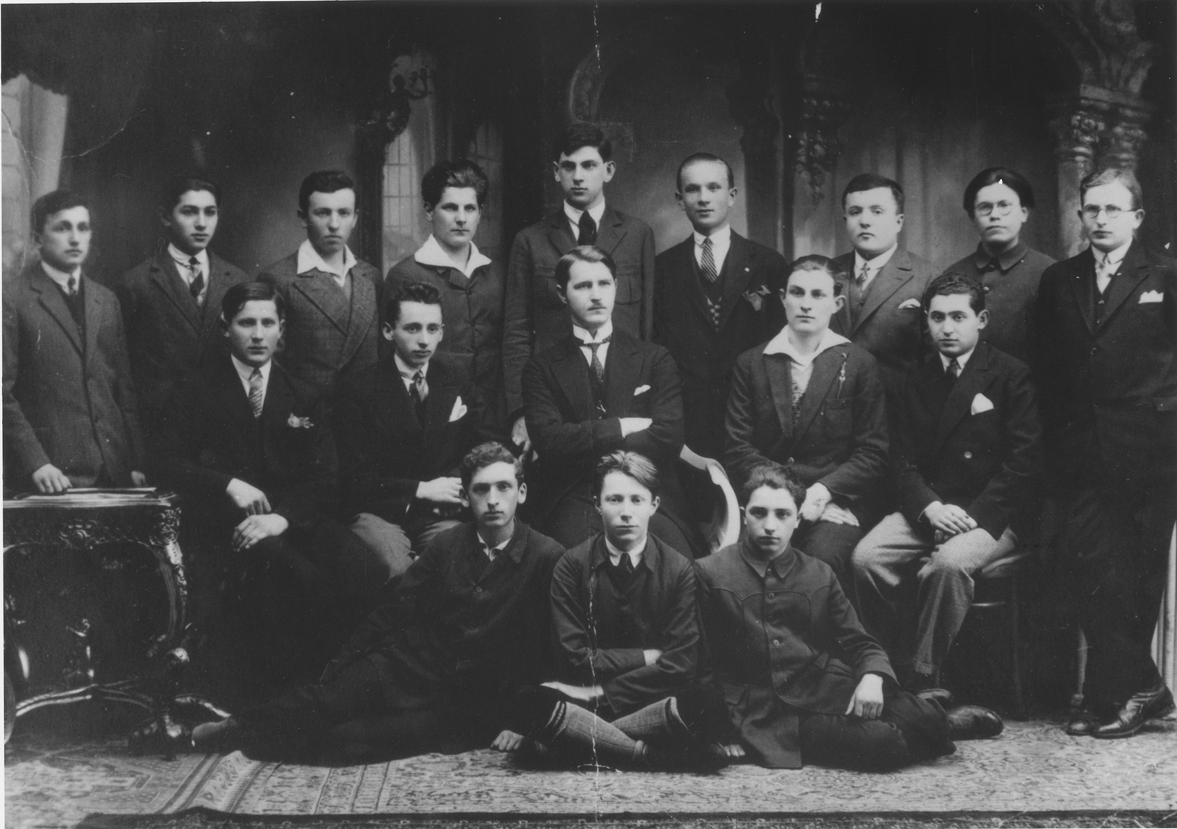 Group portrait of the 1929 graduating class of the Jewish public high school (no. 3) in Cernauti.    Among those pictured are Manfred Derman (top row, center); Manfred Buxbaum (top row, third from the left); and Jacob Flexor (middle row, second from the left).