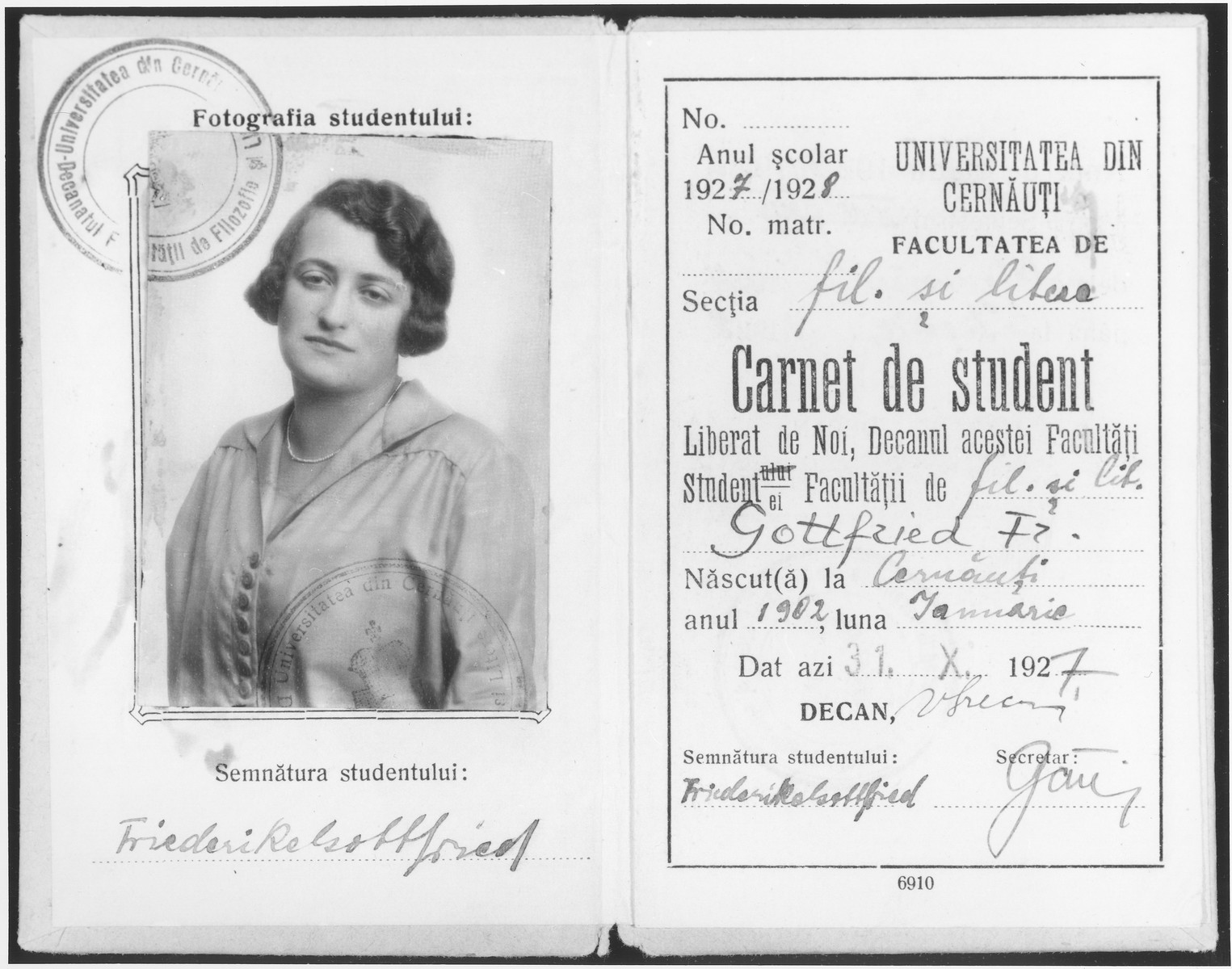 University of Czernowitz student identification card issued to Friedricke Gottfried for the school year 1927-1928.