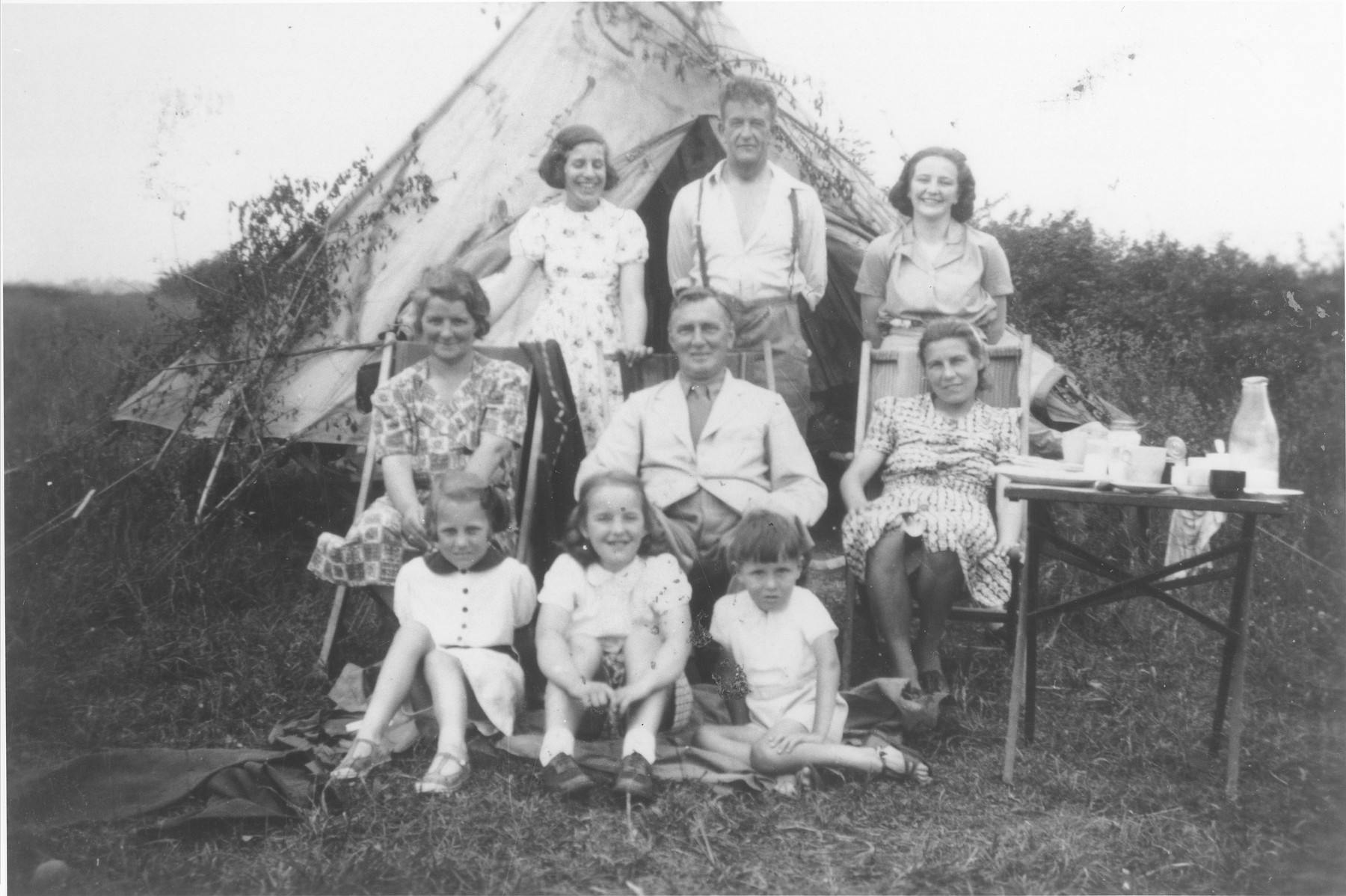 Eva Rosenbaum (back left) goes camping with her foster family in England.