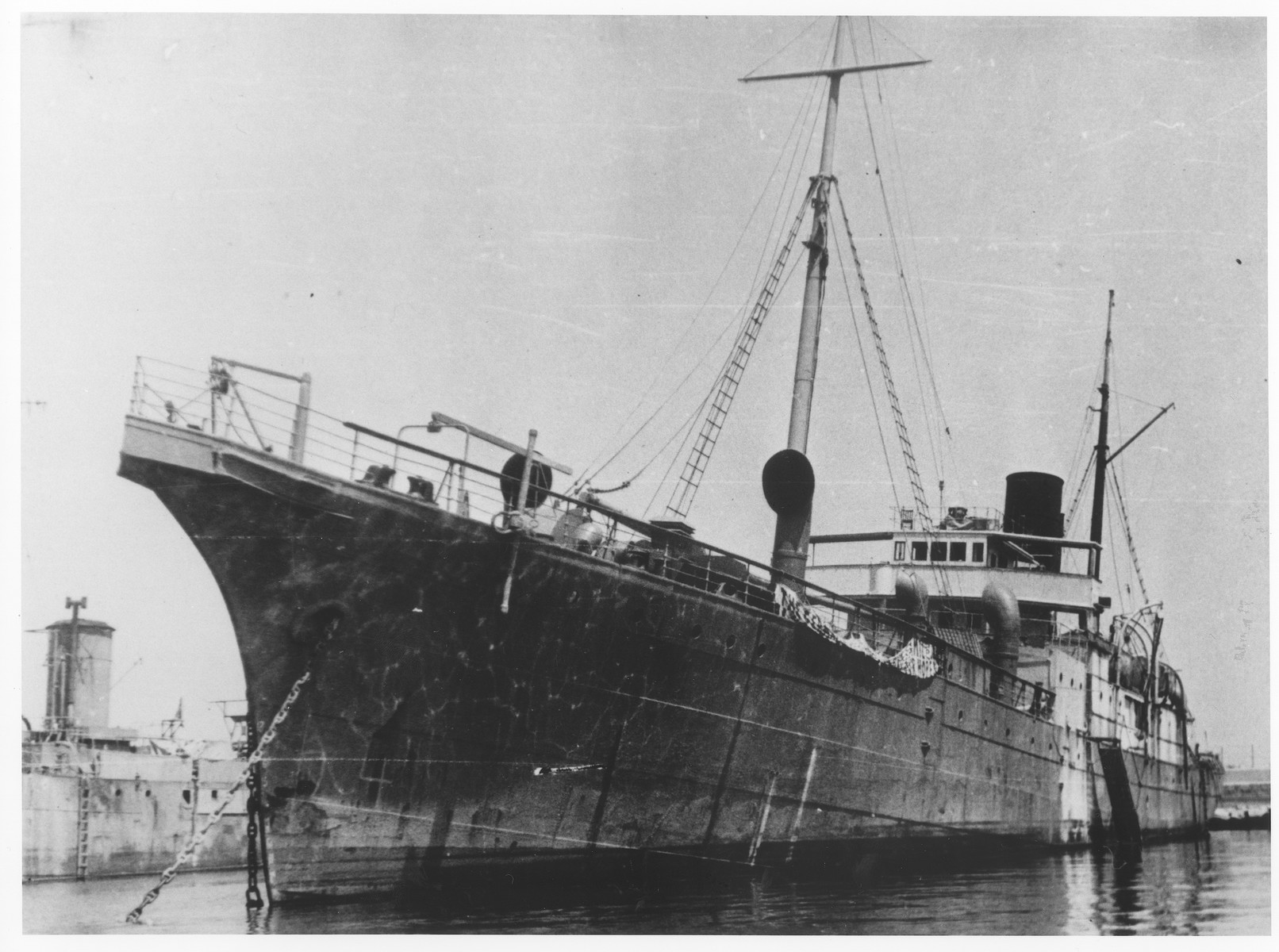 View of the illegal immigrant ship, the Theodor Herzl.