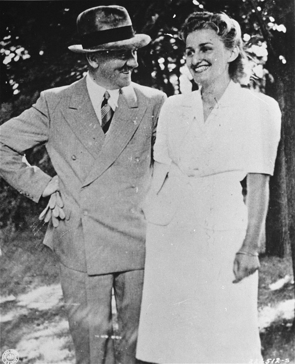 Adolf Hitler poses with Winifred Wagner, the granddaughter of composer Richard Wagner.  This photo was introduced as evidence at the Nuremberg War Crimes trial.