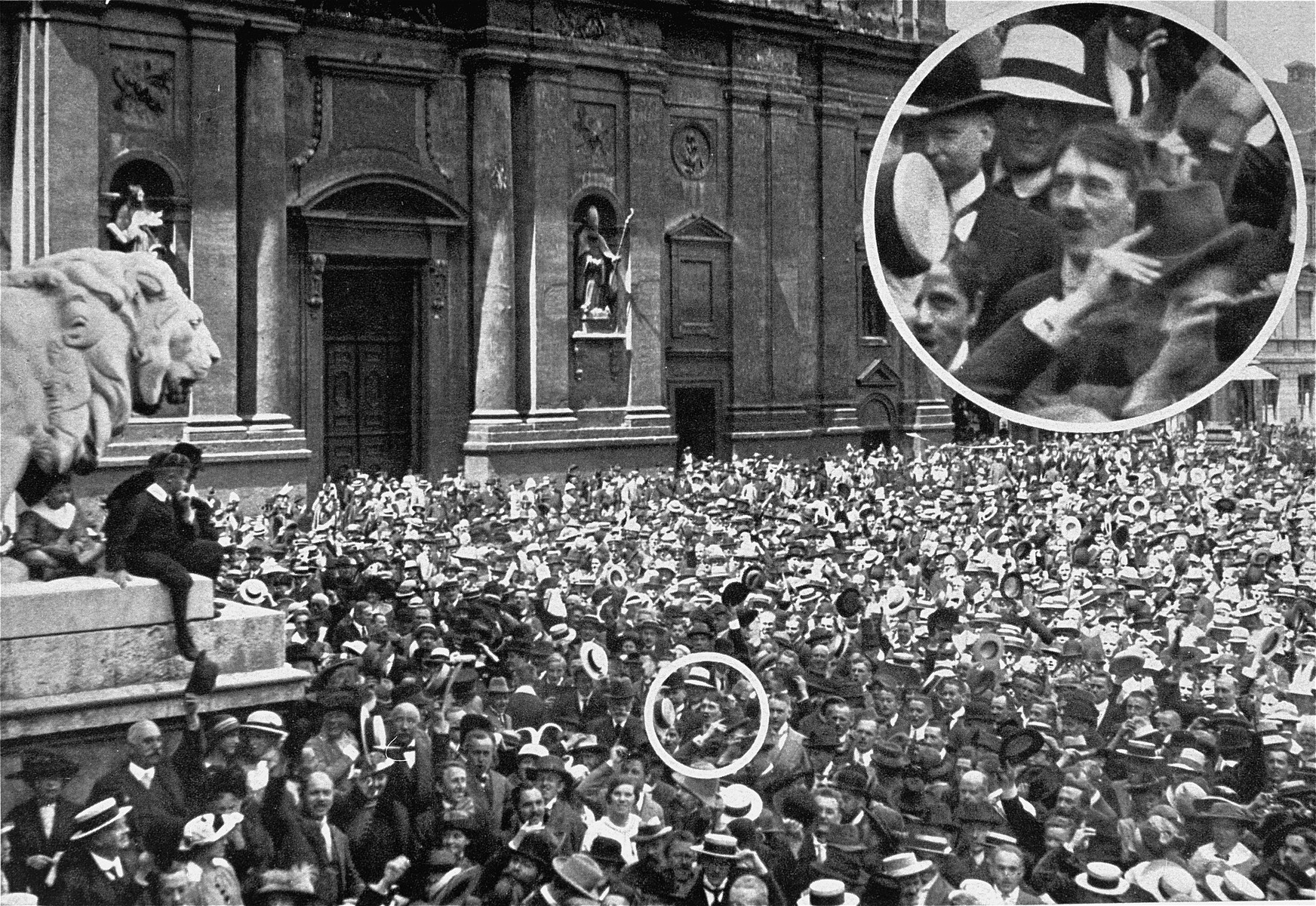 Adolf Hitler attends a rally in the Munich Odeonsplatz to celebrate the declaration of war in 1914.