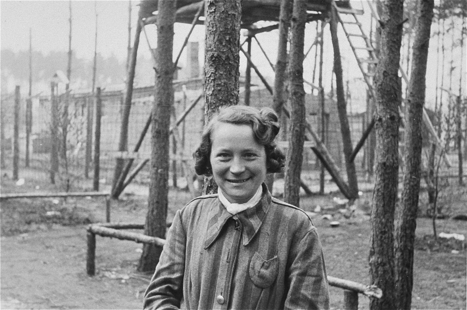 A liberated female prisoner in the women's camp at Woebbelin.  This woman's husband was in the R.A.F.