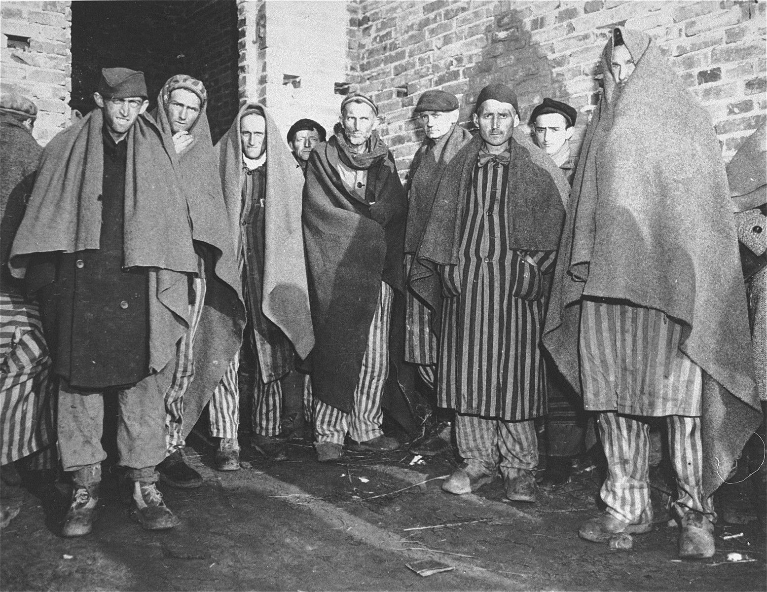 Survivors in Woebbelin on the day of liberation.