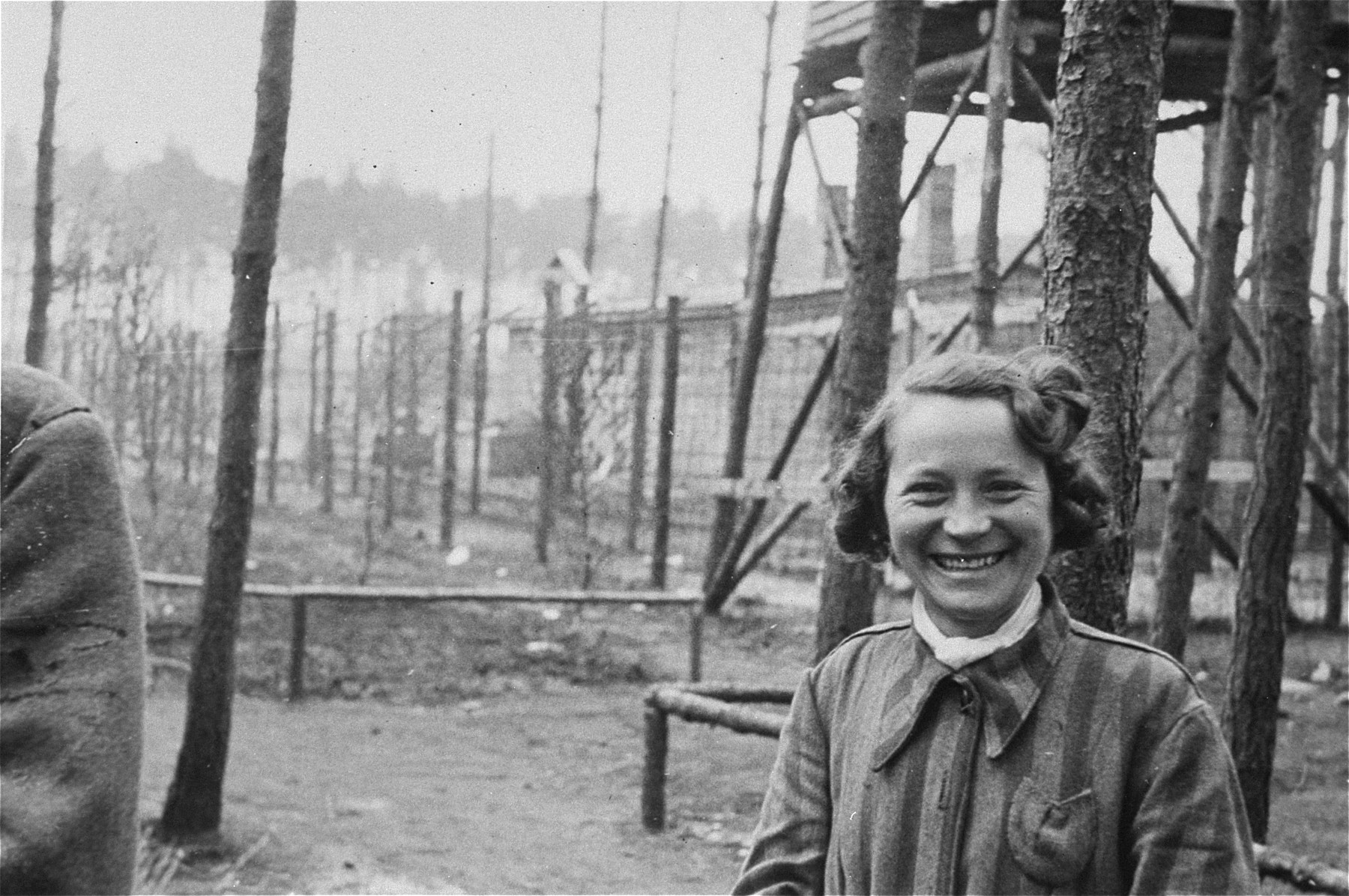 A liberated female prisoner in the Woebbelin concentration camp.