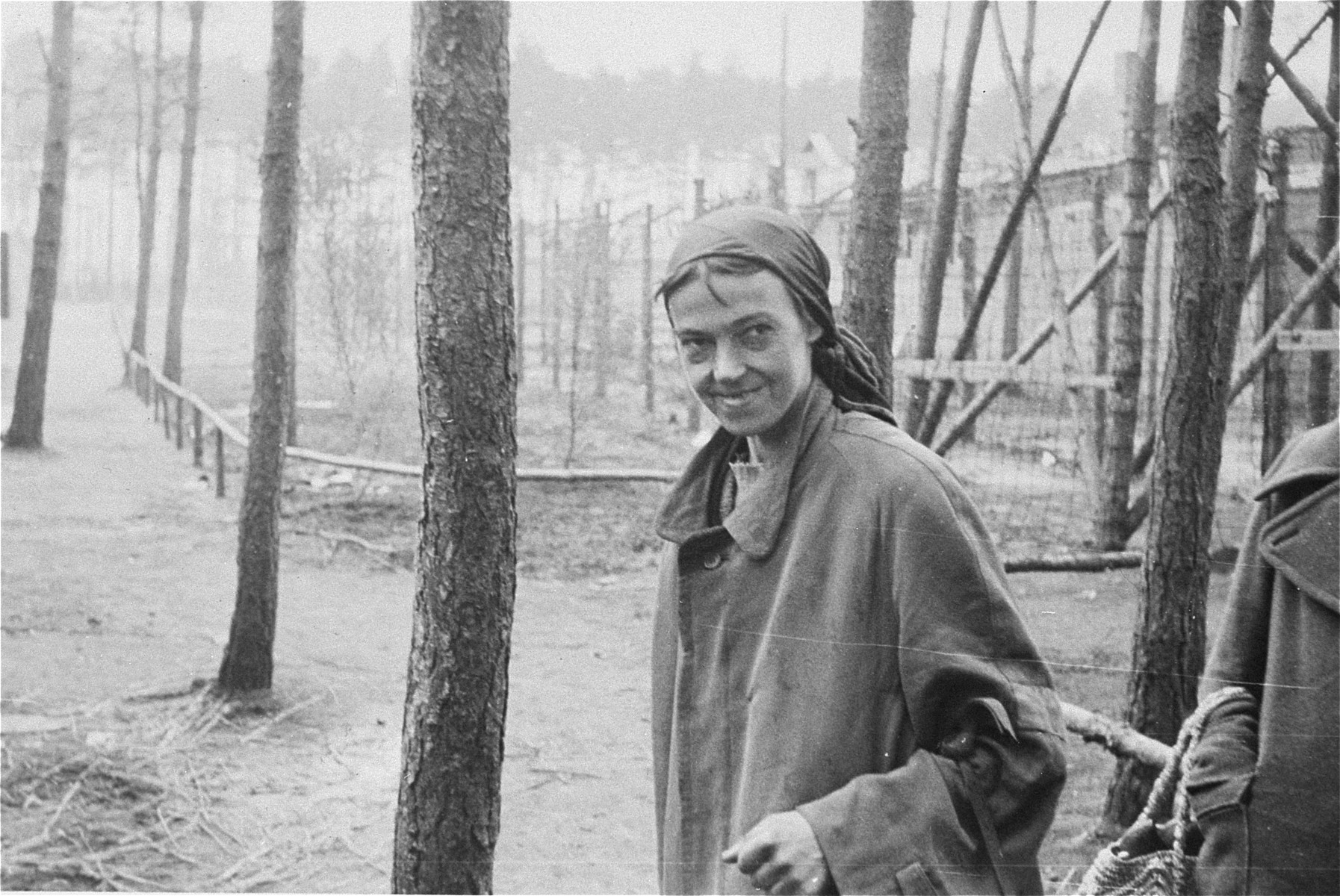 A female survivor in the Woebbelin concentration camp.