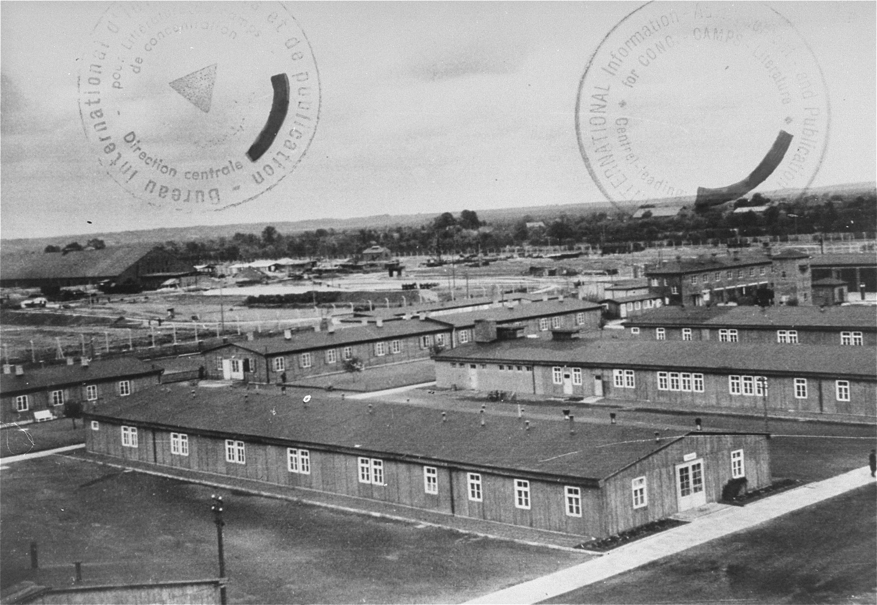 A view of the Neuengamme concentration camp.  On the left is the camp brick factory.