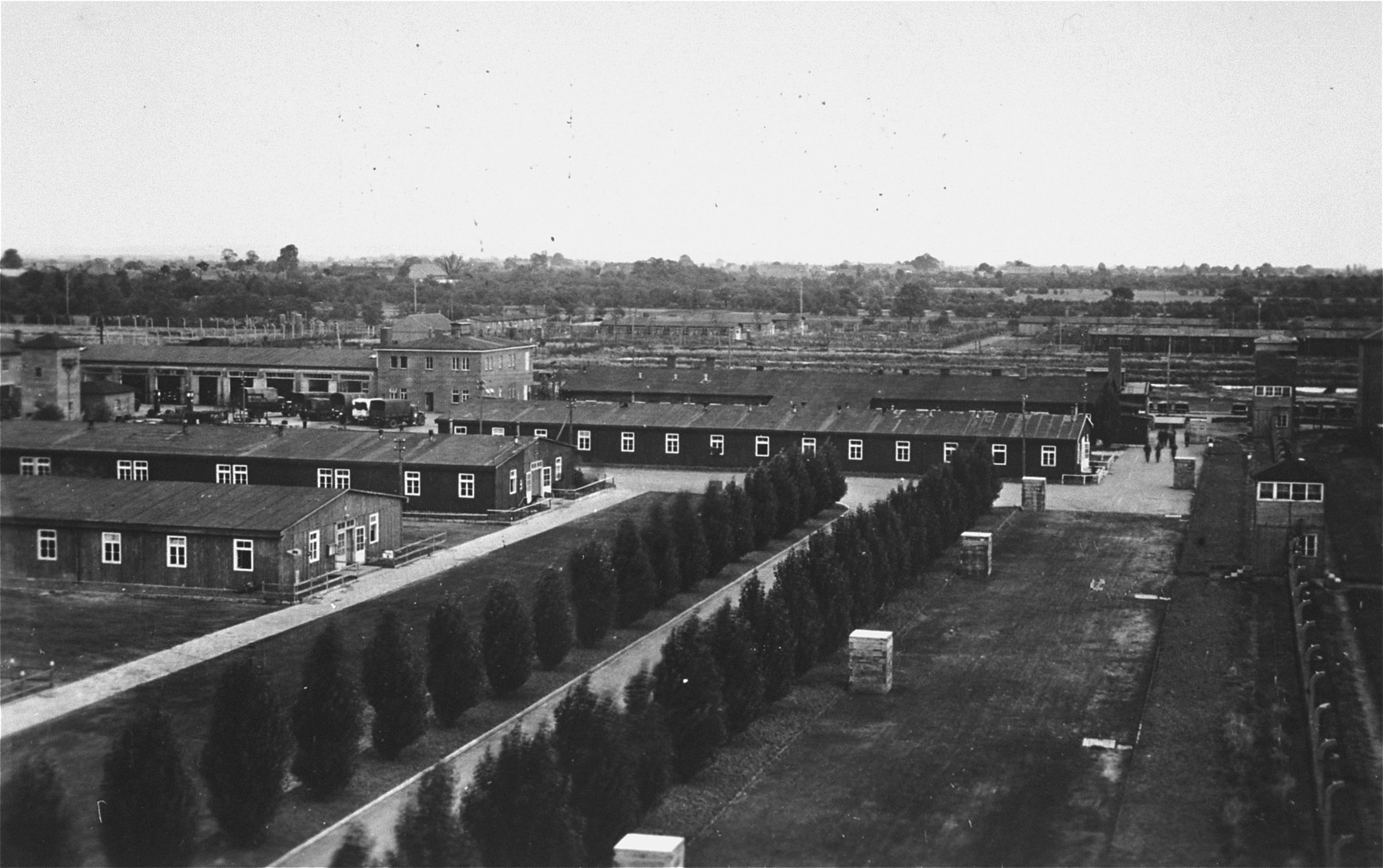 View of a section of the Neuengamme concentration camp after liberation.