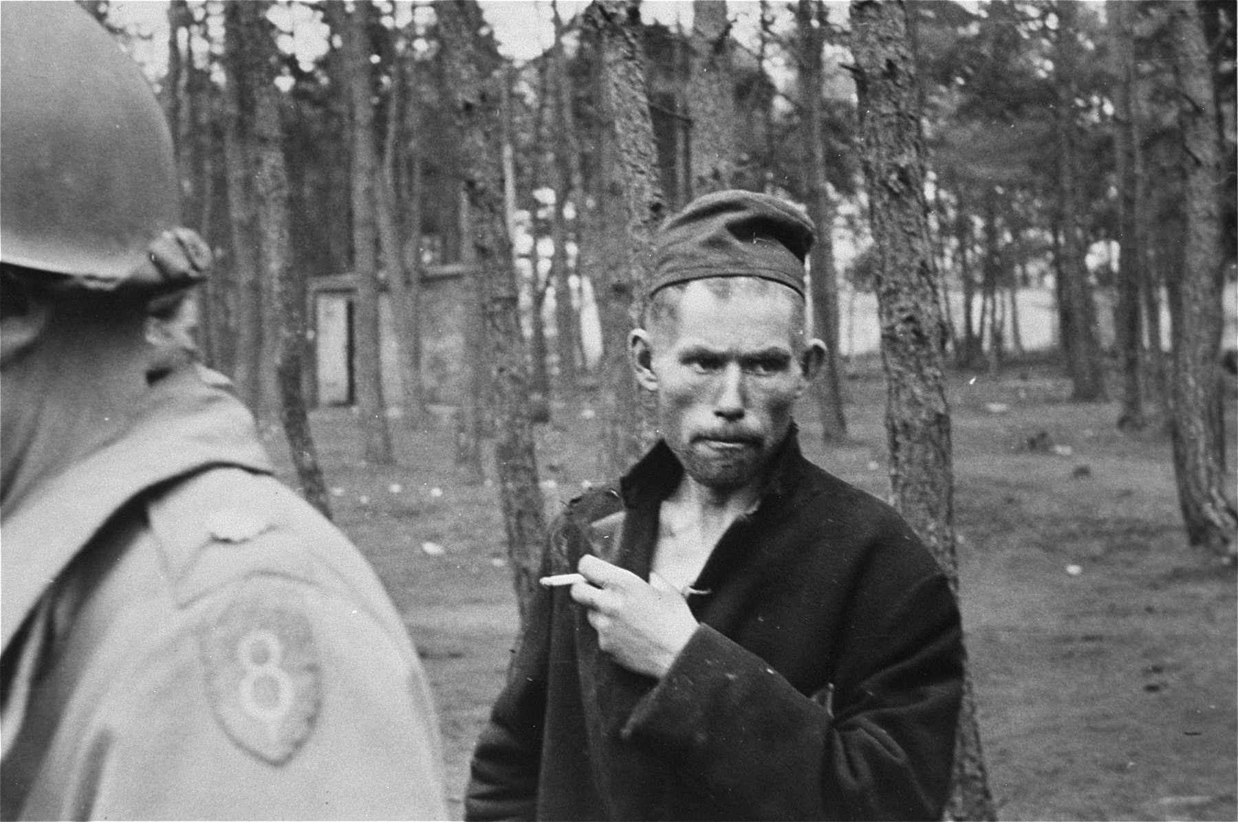 Portrait of a survivor in the newly liberated Woebbelin concentration camp.